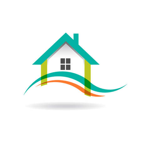 Wave in house icon