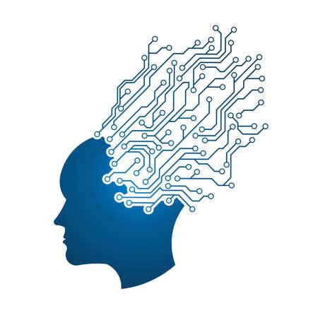 Circuito di Man Head. Astrazione di mente pensante. Questa immagine serve come idea di tecnologia, mente, pensare a lavorare, la formazione della memoria, sistema cerebrale, la psicologia, la conoscenza.
