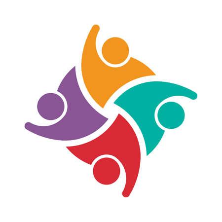 collaboration team: Teamwork of 4 swoosh people. Concept of group of people collaboration and great work.