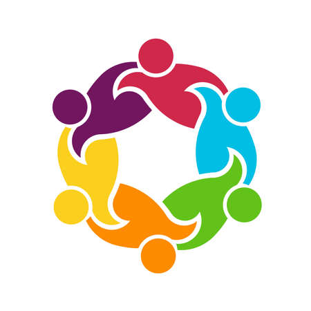 interlaced: Teamwork round circle of 6 people group , helping each other Illustration