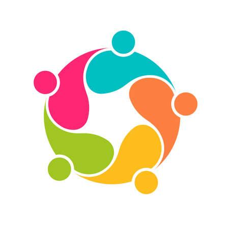 Squadra 5 comunità gruppo cerchio interlaced.Concept di persone collegate Vettoriali