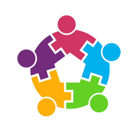 contact us icon: Teamwork 5 circle interlaced.Concept group of connected people