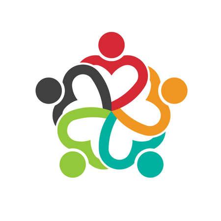 circulo de personas: Trabajo en equipo 5 personas cardíacos amistad sociales