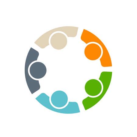 travail d équipe: Équipe de cinq personnes. Concept d'un groupe de personnes répondant à la collaboration et la grande ?uvre.
