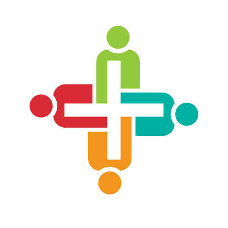 great work: Teamwork of positive people. Concept of group of people collaboration and great work. Illustration