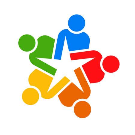 colaboracion: Trabajo en equipo de estrellas de personas. Concepto de grupo de personas la colaboraci�n y la gran obra.