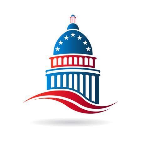 negociacion: Edificio del Capitolio en blanco rojo y azul Vectores