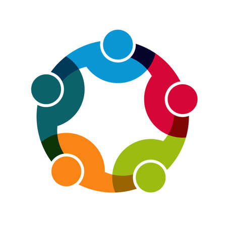 Teamwork Social Network, Group of 5 people business relationship and collaboration.