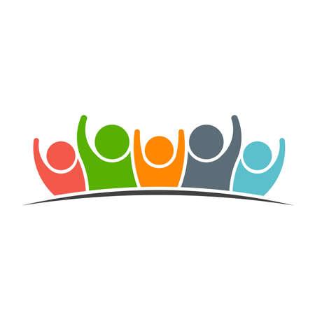 cooperación: Trabajo en equipo Cinco Amigos imagen. Concepto de Grupo de personas, felices, la victoria