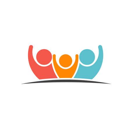 LIDER: Trabajo en equipo Tres Amigos imagen. Concepto de Grupo de personas, felices, la victoria