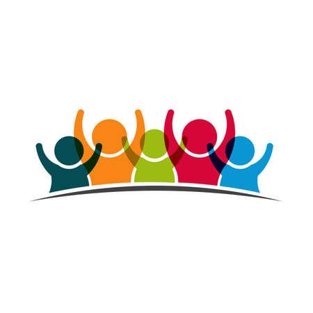 groups of people: Trabajo en equipo Cinco Amigos imagen. Concepto de Grupo de personas, felices, la victoria