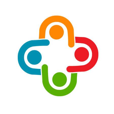Teamwork Treffen, Gruppe von 4 Personen Geschäftsbeziehung und Zusammenarbeit Vektorgrafik
