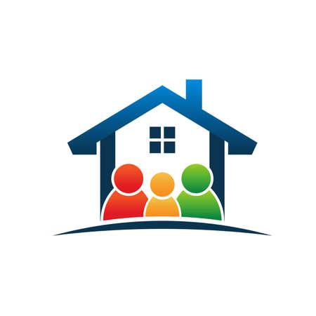 case colorate: Famiglia in casa Vettoriali