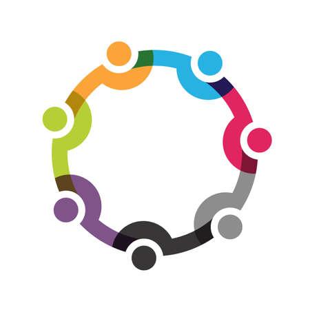 Social Network, gruppo di 7 persone affari uomini.