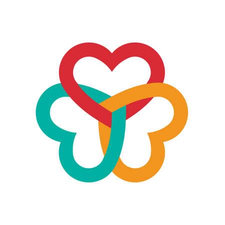 interlaced: Three hearts interlaced Illustration