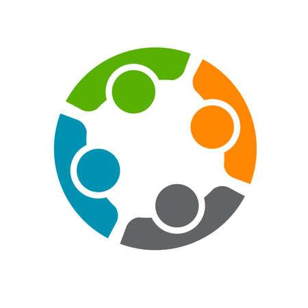 ICONO: Equipo de cuatro personas. Concepto de grupo de personas que cumplen la colaboración y el gran trabajo.