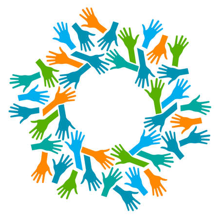 community help: Hands Circle. Concept of teamwork and Community