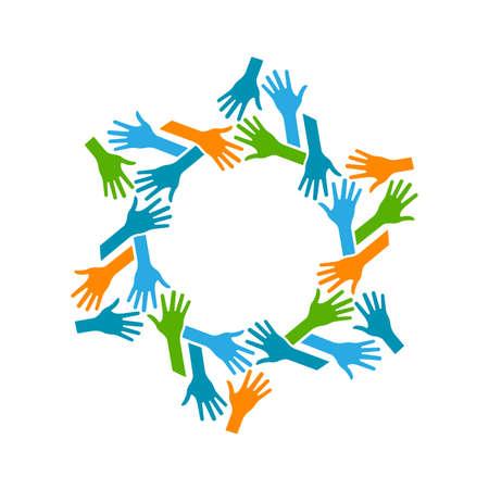 circulo de personas: Manos Circle. Concepto de trabajo en equipo y Comunidad