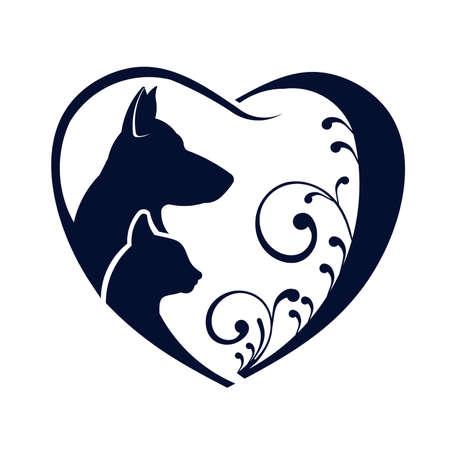 silhouette coeur: Chien Chat coeur d'amour Illustration