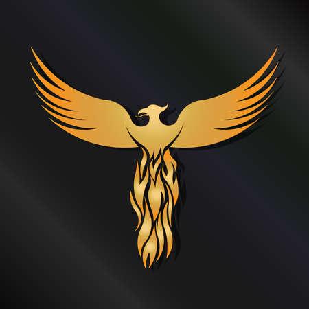 ave fenix: Golden Phoenix P�jaro Vectores