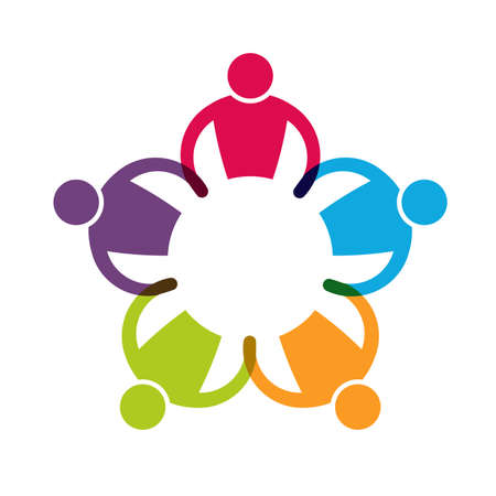 Teamwok 5 hand in hand samen in cirkel Stock Illustratie