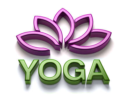 yoga class: 3D Yoga name with shiny lotus