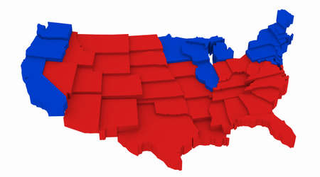 incumbent: 3D USA map Presidential Elections 2004