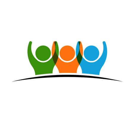 reunion de trabajo: Tres personas de la mano. Concepto de Grupo de personas, equipo feliz, victoria
