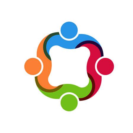 4 people: Teamwork social group of 4 people