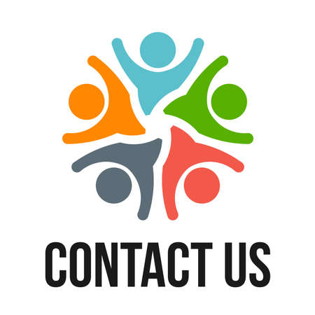 Contact us group of happy people Stock Photo