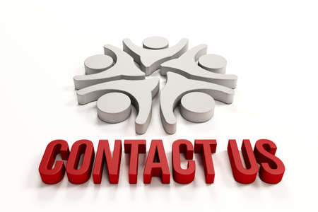 contact center: 3D Contact us group of happy people Stock Photo