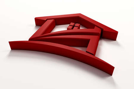 3D Luxury Red House with arc