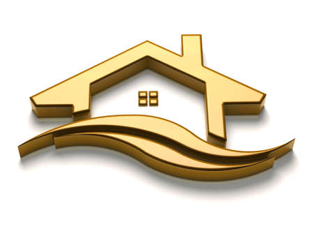 gold house: Luxury Gold House with waves Stock Photo
