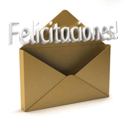 envelope with letter: Congratulazioni 3d lettera busta d'oro in spagnolo Archivio Fotografico