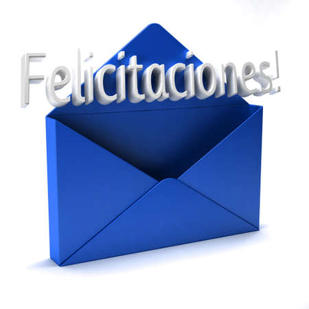 3D Congratulations blue envelope letter in spanish Stok Fotoğraf