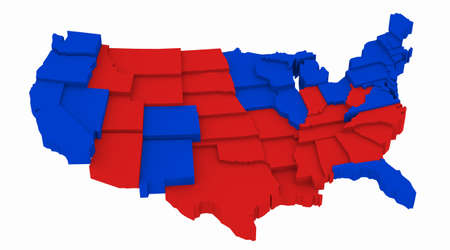 incumbent: 3D USA map Presidential Elections 2012