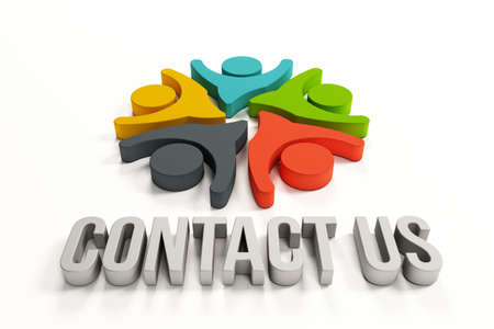 contact centre: 3D Contact us group of happy people Stock Photo