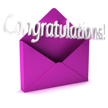 choosing selecting: 3D Congratulations Letter word coming out of an envelope Stock Photo