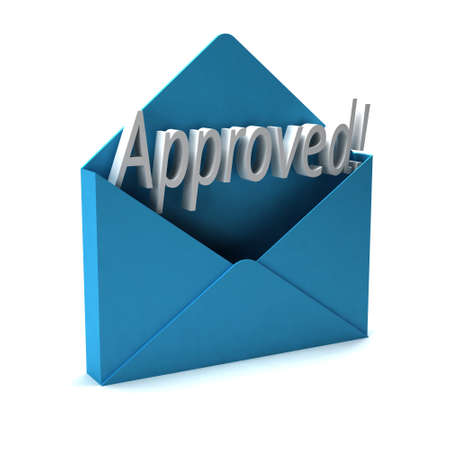 3D Approved Letter word coming out of an envelope Stock Photo