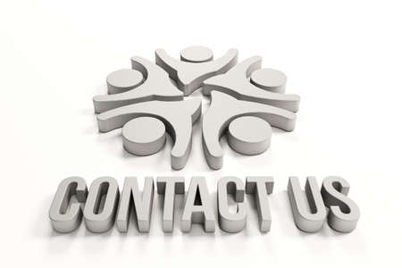 3d contact us: 3D Contact us group of happy people Stock Photo