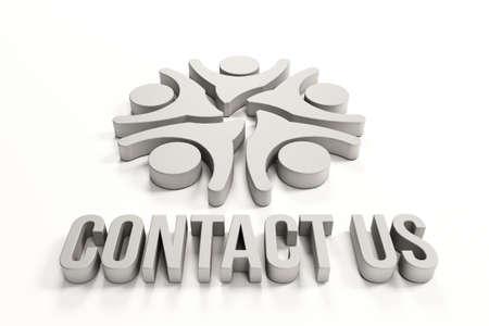 3D Contact us group of happy people Banco de Imagens