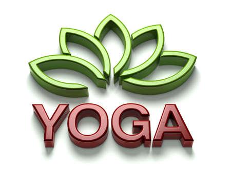3D Yoga name with shiny lotus