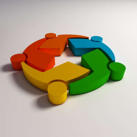 social actions: 3D Teamwork star in color Stock Photo