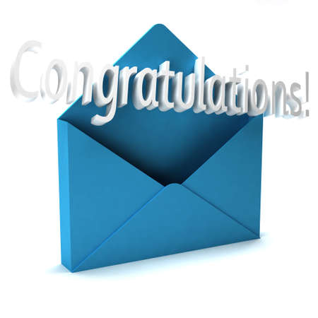 the chosen one: 3D Congratulations Letter word coming out of an envelope Stock Photo