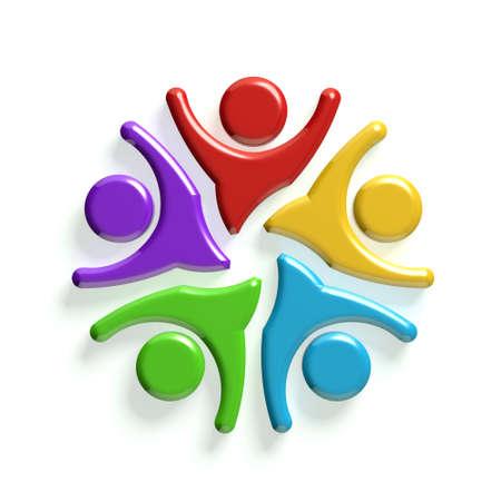 circulo de personas: Grupo 3D de la gente feliz. Concepto de éxito