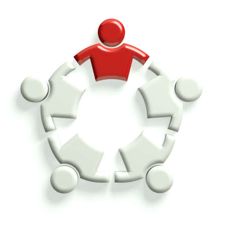 interlaced: Group of people holding each other with leader. Leadership concept Stock Photo