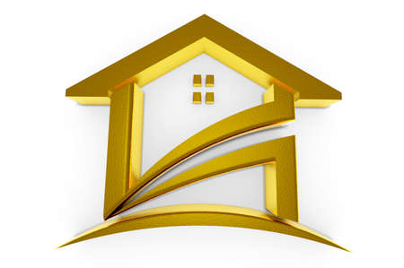 housing estate: 3D Golden house. Real Estate concept