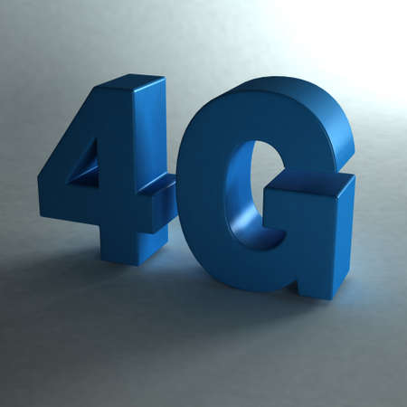 high speed internet: 4G word in blue. Photo with light and shadows Stock Photo