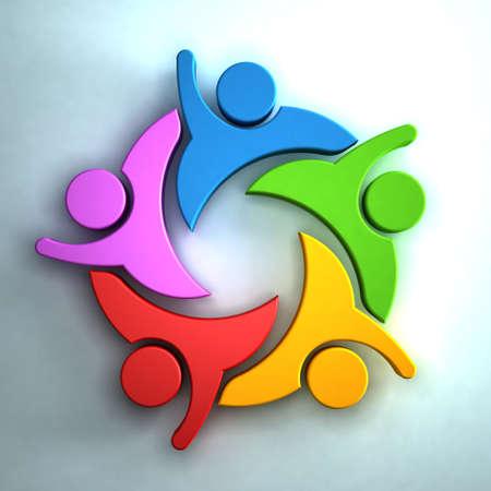 interlaced: 3D Group of peoplegiving hi5. Teamwork concept