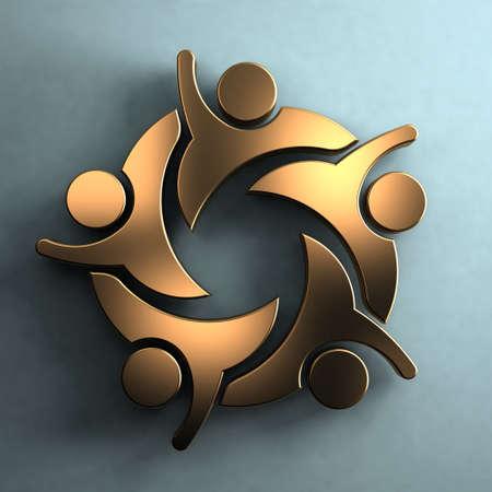 familia unida: Grupo de personas 3D en estilo Hola 5.Golden en pared. Concepto de trabajo en equipo Foto de archivo